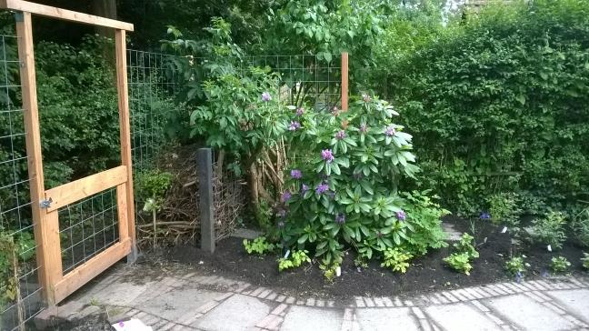 Takkenril achter in tuin